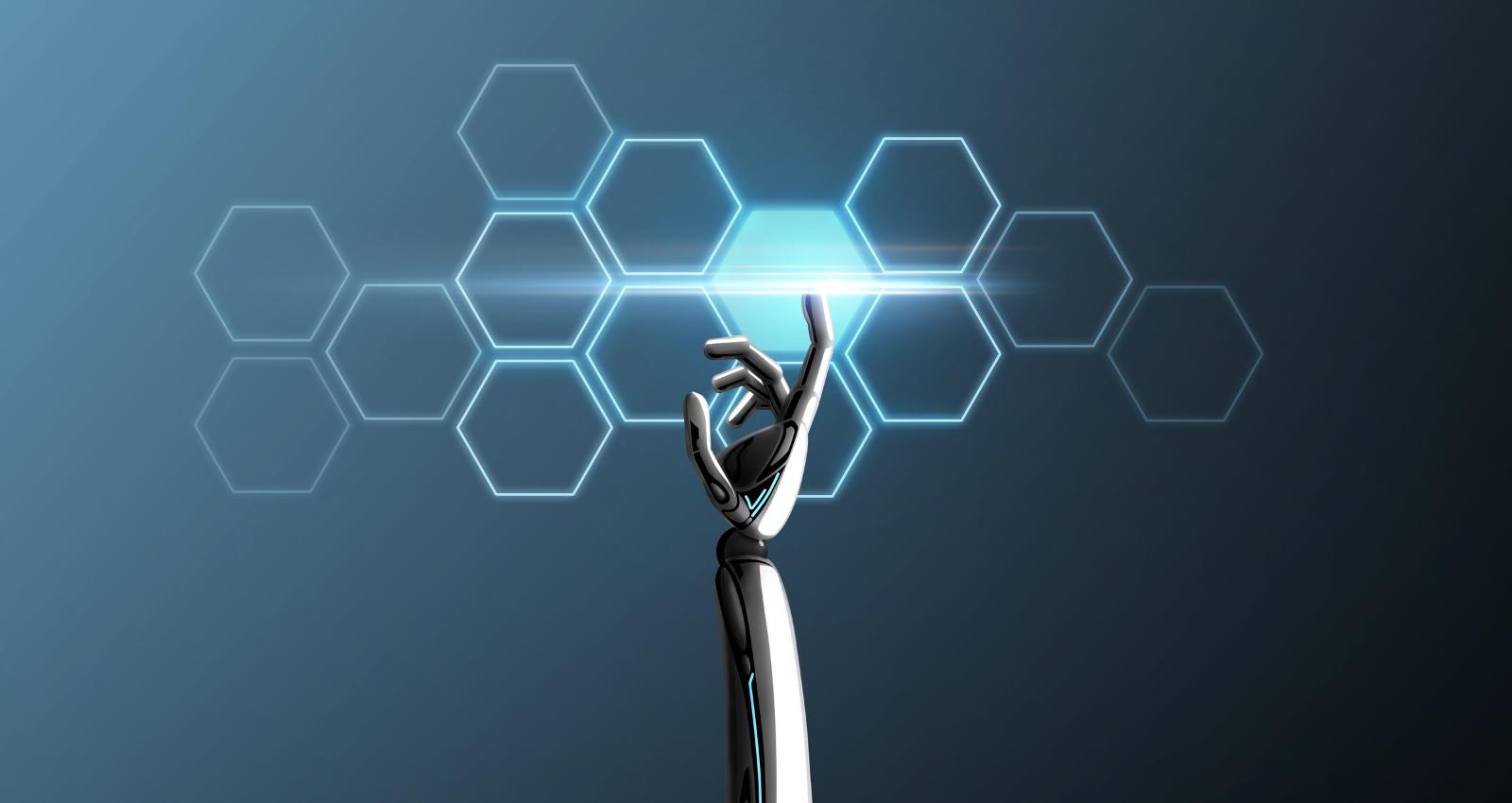 Robot hand touching light